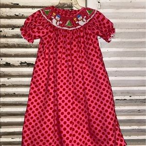 Claire & Charlie Christmas Snowman Smocked Dress
